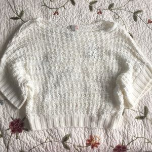 GB White Knitted Short Sleeve Sweater